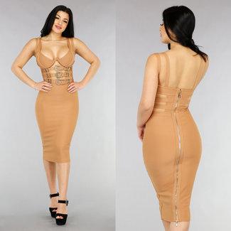 NEW1301 Fudge V-Form-Verband-Kleid mit Schnallen