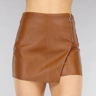 NEW1301 Brown Lede Blick Skort mit Zipper