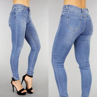 NEW1301 Light Medium Taille Jeans mit Doppelknopfverschluss