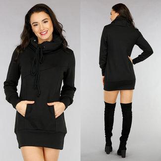 NEW1301 Bequemes schwarzes Hoodie-Kleid mit Rollkragen
