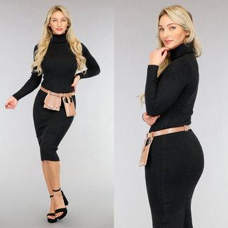 NEW2001 Schwarzes Kord-Kleid mit Rollkragen