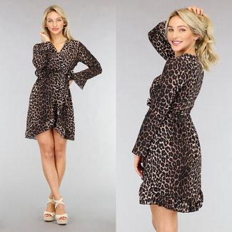 Braunes Wickelkleid mit Leopardenmuster