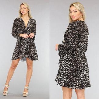 NEW2001 Beigefarbenes Wickelkleid mit Leopardenmuster