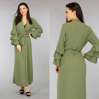 NEW2701 Langes Kleid Khaki Plissee Sleeve