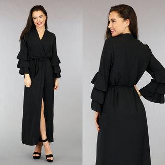 !OP=OP Langes schwarzes Kleid mit Plissee Ärmel