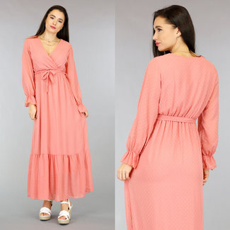 NEW2701 Lachsrosa Lange Polkadot Kleid mit Wrap