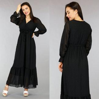 !OP=OP Polkadot Schwarz-lange Kleid mit Wrap