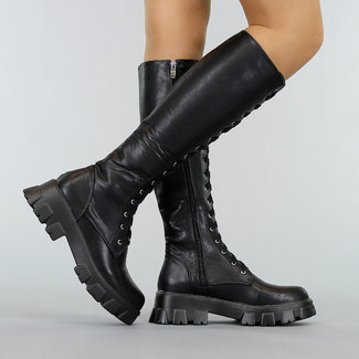 NEW2701 Long Black Biker Boots mit Plateausohle