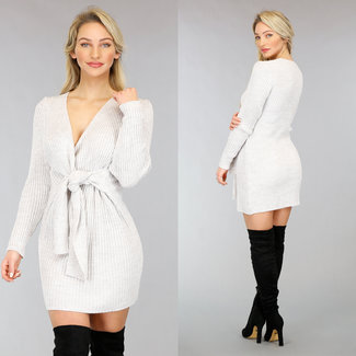 NEW0302 Beige Strickjacke-Kleid mit Knöpfen