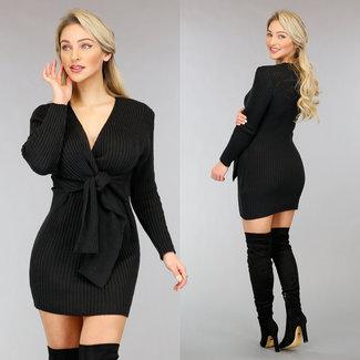 NEW0302 Schwarz Pullover Kleid mit Knopfleiste