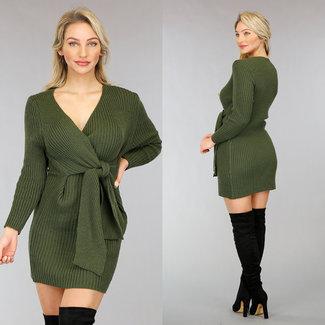NEW0302 Grüne Pullover Kleid mit Knopfleiste