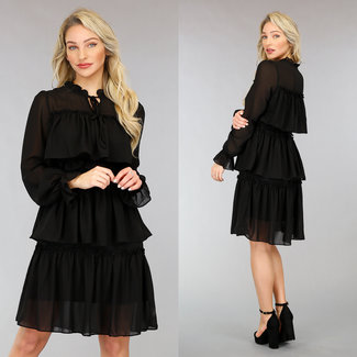 NEW0302 Schwarz Layered Chiffon-Kleid