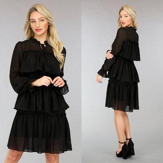 !OP=OP Schwarz Layered Chiffon-Kleid