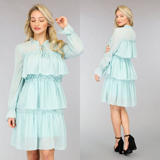 NEW0302 Mint Green Layered Chiffon-Kleid