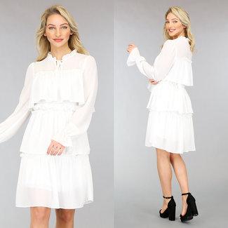 NEW0302 Weiß Layered Chiffon-Kleid