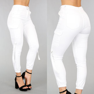 NEW0302 Weiß High Waist Fracht Jeans