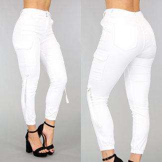 Weiß High Waist Fracht Jeans