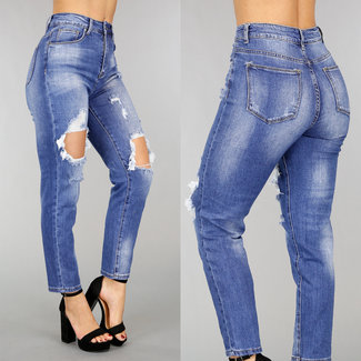 NEW0302 Hohe Taille Ripped Mom Jeans mit Stretch