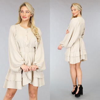NEW0302 Beige Kleid mit Fledermaus-Puffärmeln