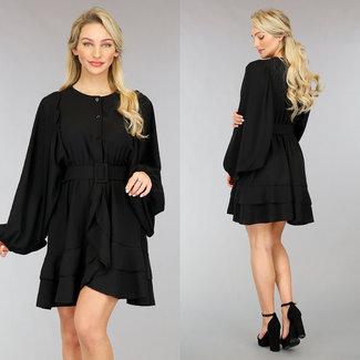 NEW0302 Schwarzes Kleid mit Bitten Puffärmeln