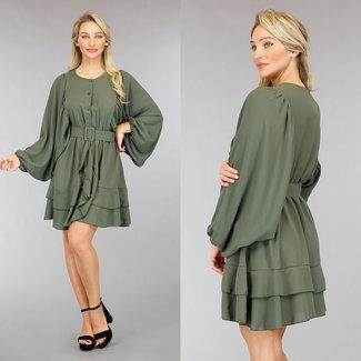 NEW0302 Khaki Kleid mit Fledermaus Puffärmel