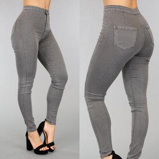 NEW0302 Grau High Waist Jeans Jegging mit Taschen