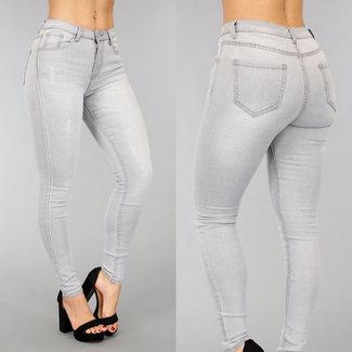 Grau Medium Taille Jeans mit Scratches