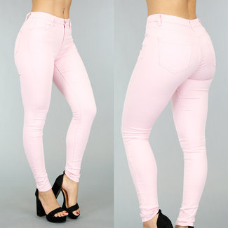 NEW0302 Basic Light Pink Medium Taille Jeans