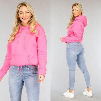 NEW1002 Neon Pink übergroßen Hoodie Crop