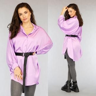NEW1002 Die Hälfte lange purpurrote Satin-Bluse mit Fledermaus Ärmel