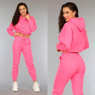 Basic-Neon Pink Lose Fit Crop Huispak