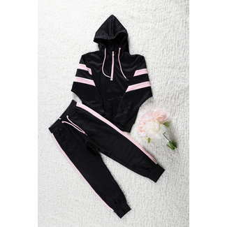 NEW1802 Black Girls Anzug mit rosa-Details