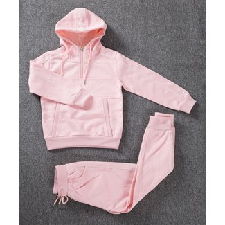 NEW1802 Hellrosa Mädchen Trainingsanzug mit 1/2 Zip Hoodie