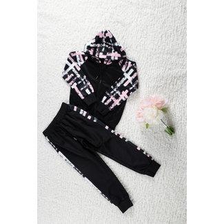 NEW1802 Black Girls Trainingsanzug mit Rosa / Weiß-Details