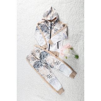 NEW1802 Mädchen Anzug mit Blatt drucken Beige