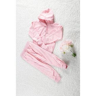 NEW1802 Hellrosa Mädchen Anzug mit Drucker