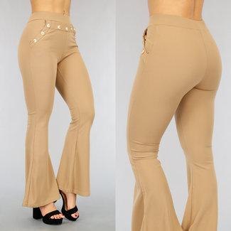 NEW1802 Flair beige Hose mit breiten Beinen und Buttons