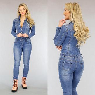NEW1802 Jeans-Overall mit Knöpfen