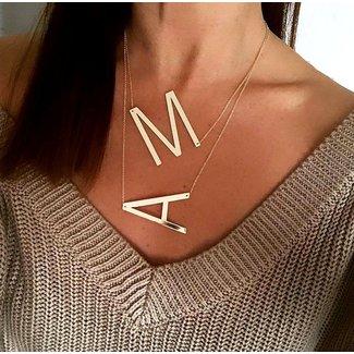 NEW1802 Gold-Charme-Halskette Buchstabe Q t / m X