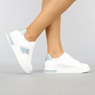 NEW1802 Weißes Leder-Sneakers Blick mit Light Blue-Details