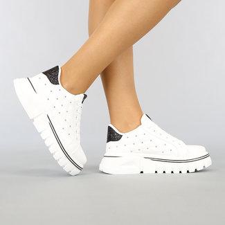 NEW1802 Weiße Turnschuhe mit Nieten und Schwarz Glitter Heel