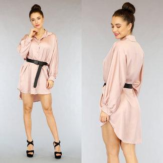 NEW2402 Hellrosa Satin Bluse Kleid mit Fledermaus-Ärmel