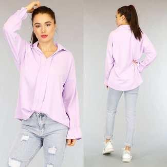 NEW2402 Ordentlich Lila Lose Fit Bluse