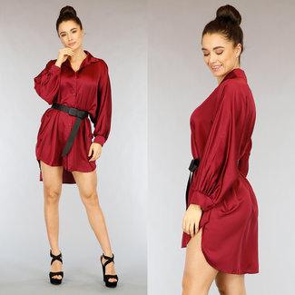 NEW2402 Wein-Rot-Satin-Bluse Kleid mit Fledermaus-Ärmel