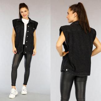 NEW2402 Schwarze Jeans-Weste mit Schulterpolster