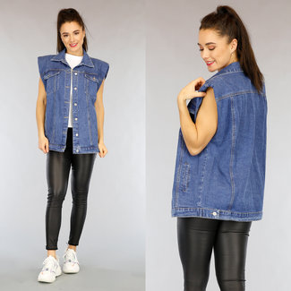 NEW2402 Blue Jeans Weste Schulterpolster