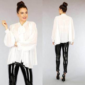 NEW2402 Übergroße weiße Chiffon-Bluse mit Schleife