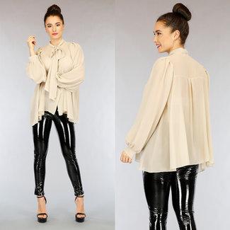 NEW2402 Übergroße Beige Chiffon-Bluse mit Schleife