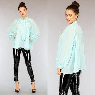 NEW2402 Übergroße Mint Chiffon-Bluse mit Schleife