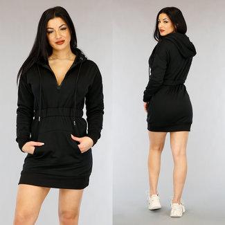 NEW0303 Schwarzes Hoodie Kleid mit 1/2 Reißverschluss